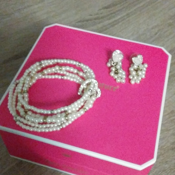 Juicy Couture Jewelry - White and Gold Juicy Couture Earrings and Bracelet